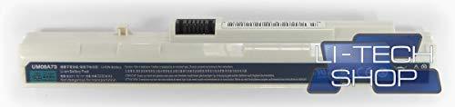 LI-TECH Batería Compatible Blanca para Acer Aspire One AO-A150-1690 Notebook 2,2 Ah...