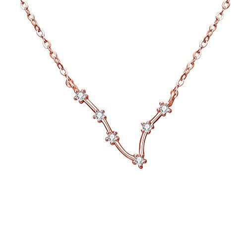Collares Mujer - Clearine Serie de Constelación'Piscis' Colgante Plata 925 Tono Oro Rosa Horóscopo Exclusivo para Regalo Boda Novia