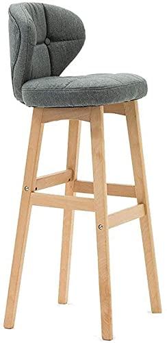 Taburetes de bar, desayuno Cocina Contadoras de telas de vestir Bar Taburetes con respaldo, ropa de cama gris, cojín suave, sillas de cocina de madera maciza, silla alta, disponible en una variedad de