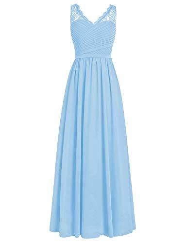 Brautjungfernkleider Spitze Lang A-Linie Chiffon Ballkleider V-Ausschnitt Ärmellos Abendkleider Hochzeit Kleider Hellblau 32