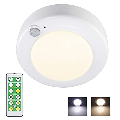 HONGUT Battery Powered LED Ceiling Light, Indoor Motion Sensor Light with Remote, Wireless Shower Light, Stick Overhead Light for Ceiling Closet Cabinet Bathroom Hallway Stair Wall Shed