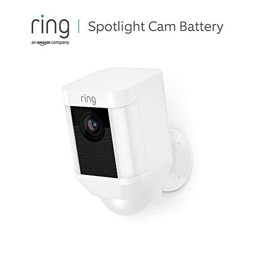 Ring Spotlight Cam Battery | HD Sicherheitskamera mit LED Licht, Sirene und Gegensprechfunktion, Batterie betrieben, weiß | Mit 30-tägigem Testzeitraum für Ring Protect