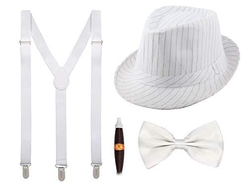 Juego 4 de Tirantes Elásticos Pajaritas Ajustables Sombrero de Copa y Cigar Accesorios 1920 para Fiesta Carnaval (Blanco, Pack adulto/sombrero 56cm)