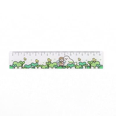 Linda flor de fresa 15 cm regla de plástico marcador de estudio herramienta de dibujo regalo kawaii escuela papelería suministros (color: linda chica D)