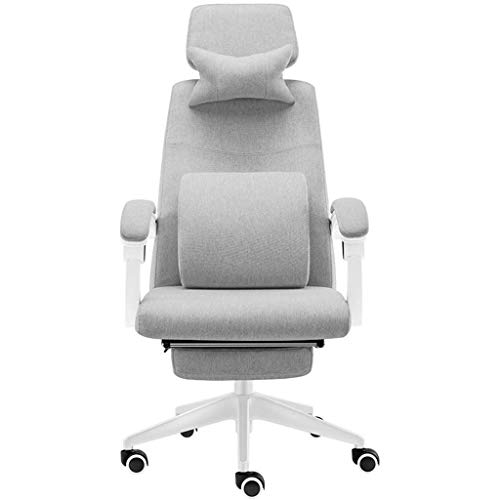 QNN Desk Chair,Grey Desk Chair,Comfy Fabric Computer Chair High Back Large Seat and Tilt Function Swivel