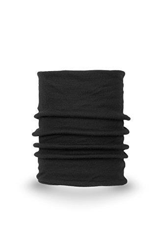 MarkFit Schlauchtuch 100% Hochwertige Merino Wolle 2-lagig Multifunktionstuch Schwarz