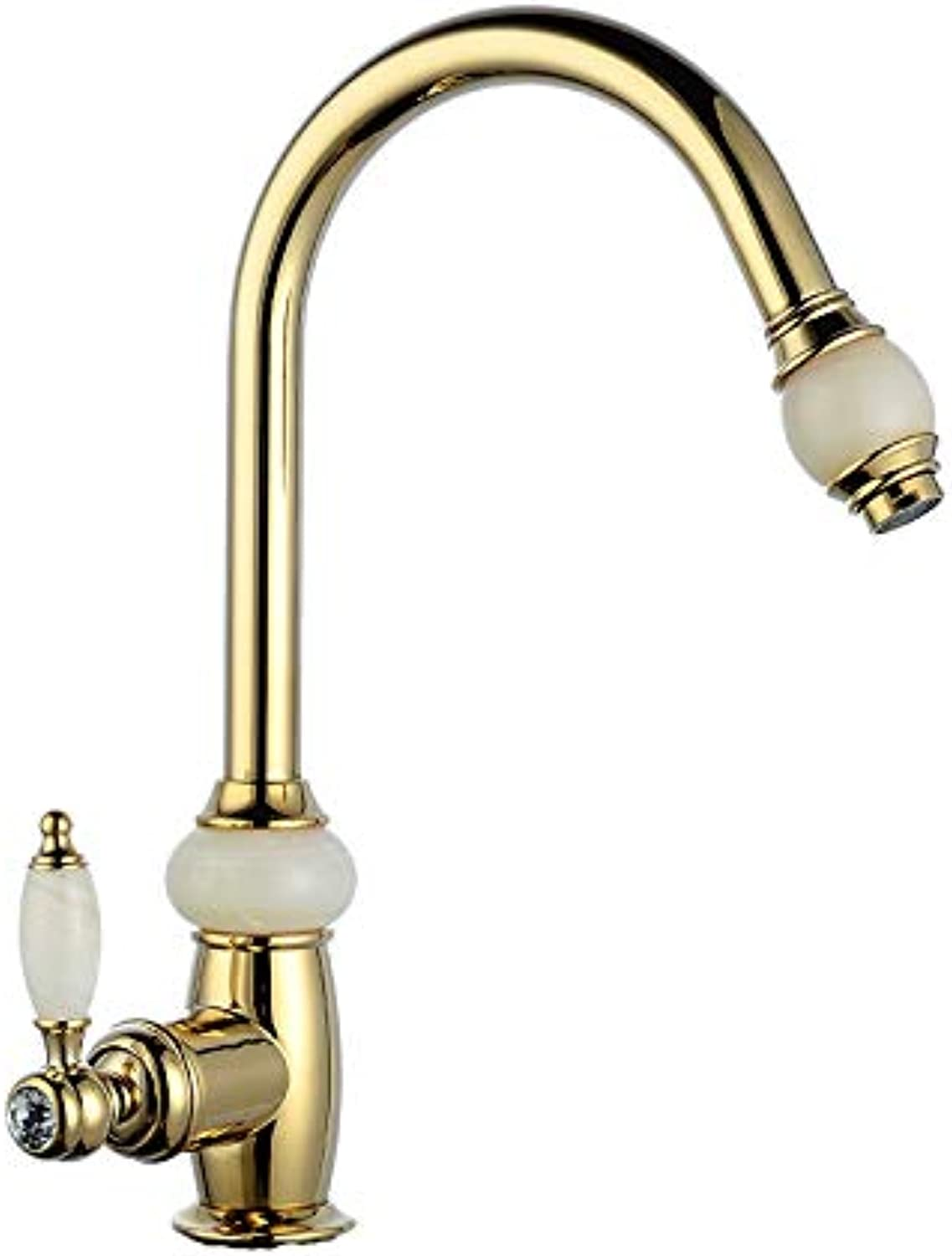 Natural Jade Hot and Cold Faucet Kitchen Pull Faucet gold