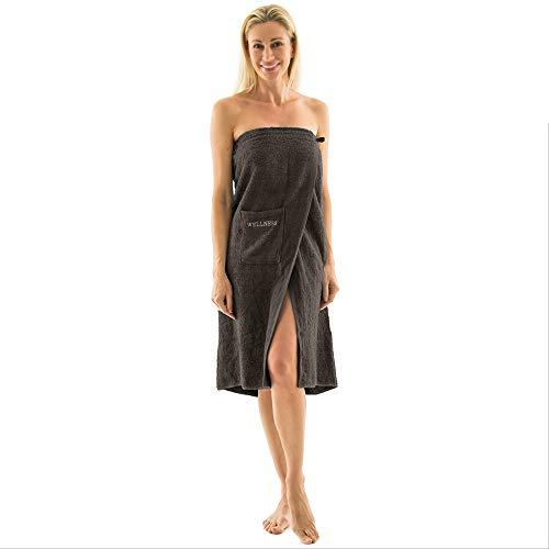 aqua-textil Wellness Saunakilt Damen 90 x 150 cm anthrazit Baumwolle Saunasarong Frottee Kilt Langer Schnitt