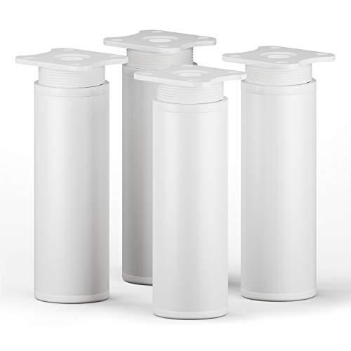 sossai® Design-Möbelfüße MFR1   höhenverstellbar   4er Set   Rund-Profil - Ø 40 mm   Farbe: Weiß   Höhe: 120mm (+20mm)   Hochwertige Holzschrauben inklusive
