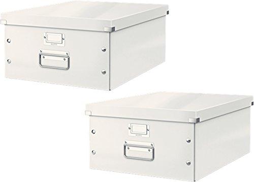 Leitz 6045 Click & Store, Große Aufbewahrungs- und Transportbox mit Deckel für A3 (2er Pack, Weiß)