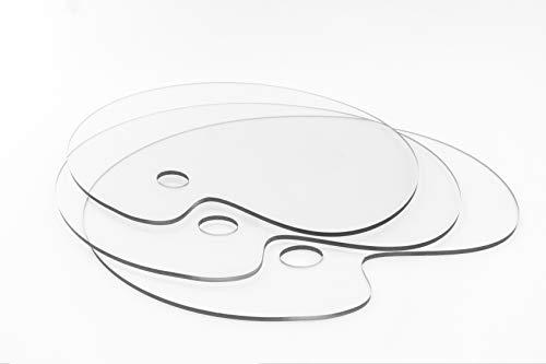 Bannerhero Mischpalette Oval 30 x 20 cm | 3 Stück | Klare Transparent Aquarell Gouache DIY Acryl Kunstpalette Kunst Artpalette Öl Farbmischpalette