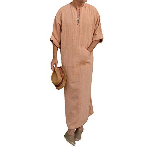 Heflashor Homme Musulman Islamique Dubai Robe avec Capuche Tee Shirt Long Patchwork Arabe Thobe Saoudien Dishdasha Kaftan Moyen Orient Ethnique Kandoura Pull Tunique Manches Longues (XL, Orange)