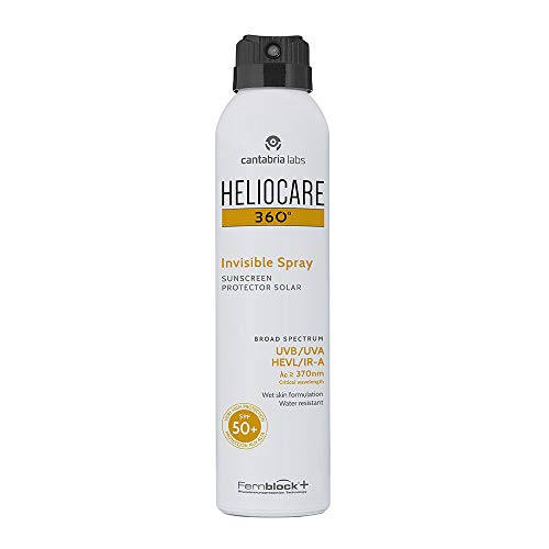 Heliocare 360 Invisible Spray SPF50 200ml | Aerosol Sunscreen for Body | UVA UVB Visible Light Infrared-A Anti-Ageing Sun Protection | Transparent, Non-Oily Finish | Suitable for All Skin Types |