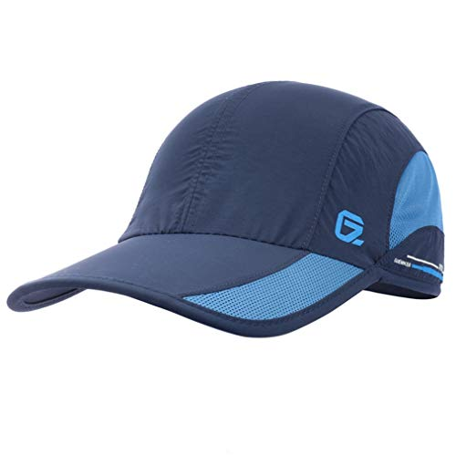 GADIEMKENSD Quick Dry Sports Hat Lightweight Breathable Soft Outdoor Run Cap (Classic up, Navy)
