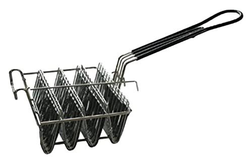 Taco Fryer Cesta sostiene 4 Conchas de la Canasta del Taco de la freidora Profunda,Canasta de Taco de Servicio Pesado Comercial con Mango de Agarre