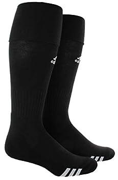 adidas Unisex Rivalry Soccer OTC Socks  2-Pair  Black/ White Large