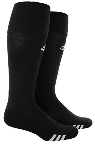 adidas Unisex Rivalry Soccer OTC Socks (2-Pair), Black/ White, Large