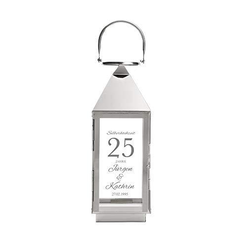 Casa Vivente Laterne aus Edelstahl mit Gravur zur Silbernen Hochzeit, Personalisiert mit Namen und Datum, Dekoration für Haus und Garten, Geschenkidee zum 25. Hochzeitstag