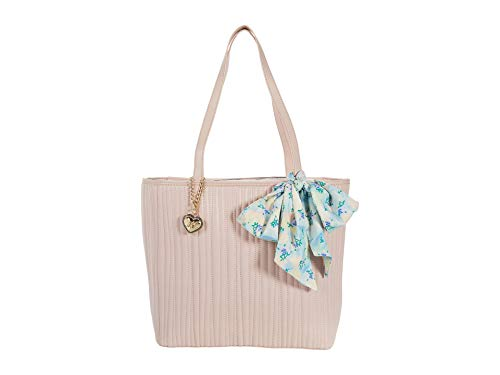 Betsey Johnson Quilted Tote with Scarf Blush One Size