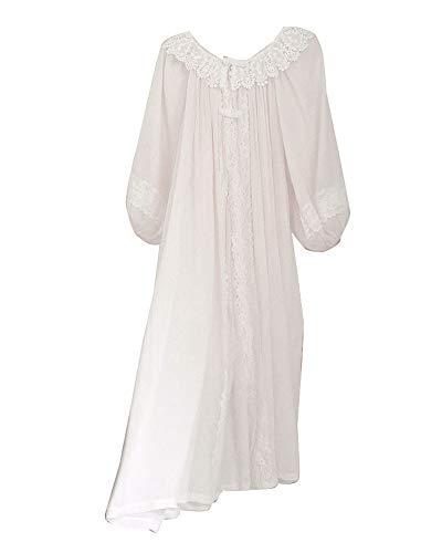 GuoCu Damen Viktorianisch Prinzessin Blumen-Stickerei-Zweiteiliges Nachthemd Schlafanzug mit gesticktem Spitzenkragen Langarm Housecoat + Slip Kleid Nachtwäsche Loungewear Pyjama Nachtkleid Weiß XL
