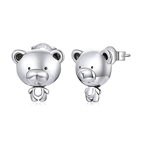 Pendientes sencillos de plata de ley 925 con osos pequeños y bonitos, pendientes simples para mujer, joyería de plata de moda