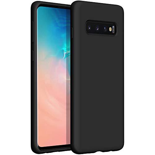 YATWIN Compatibile con Samsung Galaxy S10 Cover 6,1'', Cover per Samsung Galaxy S10 Silicone Liquido, Protezione Completa del Corpo con Fodera in Microfibra, Nero
