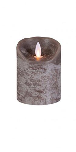 sompex Flame Echtwachs LED Kerze, fernbedienbar, Taupe - in verschiedenen Größen, Höhe:10 cm