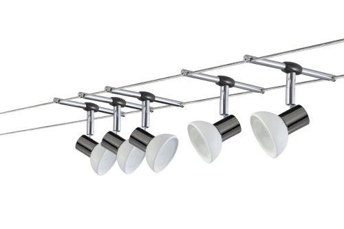 Paulmann 97535 Wire System Sheela 105 5x20W GU5,3 Schwarzchrom/Opal 230/12V 105VA Met/Glas