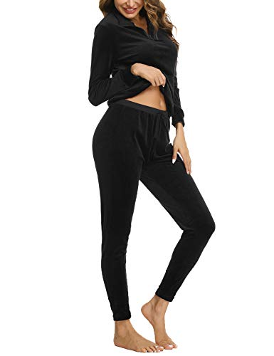 Irevial Damen Velours Hausanzug Fleece Anzug Classic Sweat Suit Trainingsanzug Jogginganzug Streetwear Fitnessanzug Sportanzug Schwarz Large