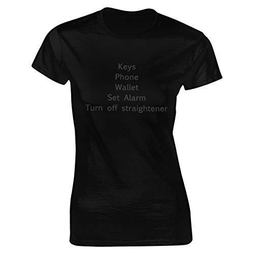 Damen Keys Phone Wallet Set Alarm Turn Off Straightener Kurzärmlig Tee Shirts Bekleidung T Shirt Crew Neck Für Women Black L T-Shirt