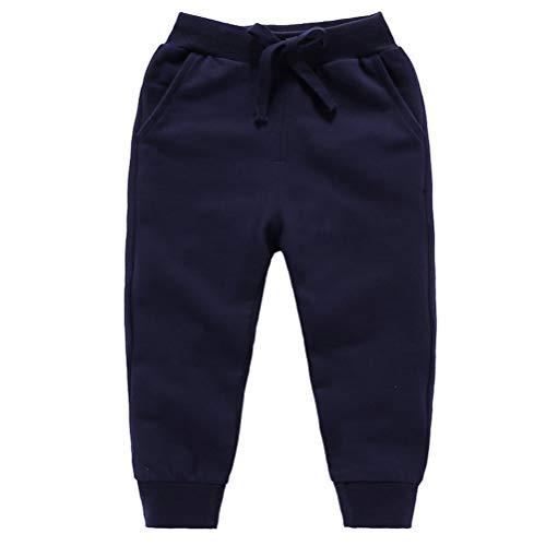DQCUTE Pantalones Deportivos para Niños Niñas Pantalón Largos Elástico Cintura Pantalones de Chándal Joggers Algodón para Bebé Azul Oscuro 2-3 Años