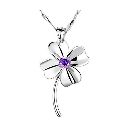 ZNXHNDSH HND Necklace, 925 silver necklace lucky clover pendant ladies necklace, inlaid with amethyst pendant fashion trend jewelry gift for girlfriendd (Color : Purple, Size : 3.2 * 1.8cm)