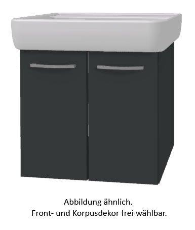 PELIPAL Solitaire 9005 Set K55-2T: Keramik Waschtisch Keramag Renova Nr.1 Plan, Weiß + Unterschrank