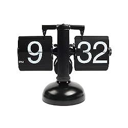 mooas Flip Desk Clock (Black), Retro Vintage Design Auto Flip Clock Desk Clock Table Clock Large Number Battery Powered Internal Gear Operated Home Décor Ideal for Home Office School Hotel Café