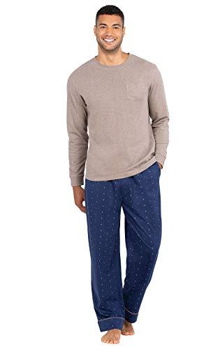 PajamaGram Men Pajamas Set Cotton - Pajama Sets for Men, Navy, Large