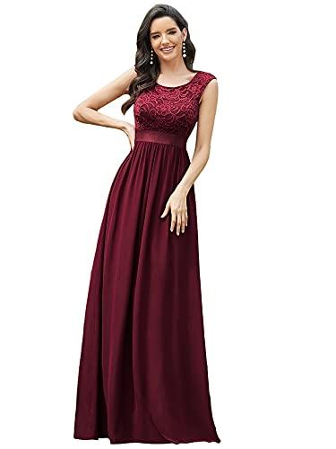 Ever-Pretty Damen Rundhalsausschnitt Kurze Ärmel Elegant A-Linie Empire Spitze Chiffon Bodenlang Abendkleider Burgund 52
