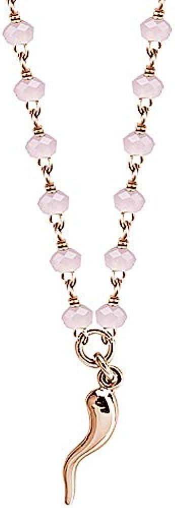 Boccadamo, collana per donna ,in bronzo placcato oro rosa con cristalli rosa IK/GR23