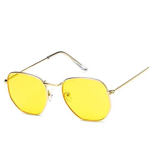 Yhui veelhoekige vrouwen zonnebril mannen bril Lady Retro metalen zonnebril vintage spiegel