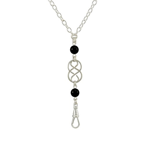 Brenda Elaine Jewelry Women's Fashion Lanyard Necklace ID Badge Holder, 32 Inch Silver Chain with Silver Celtic Knot and Black Pearl Pendant & No Rear Clasp