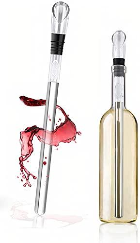 Enfriador de Botellas de Vino Barra - Con Varilla de Enfriamiento Enfriador Vino 3 en 1 de Acero Inoxidable,Aereador y Vertedor - Para Amantes del Vino.