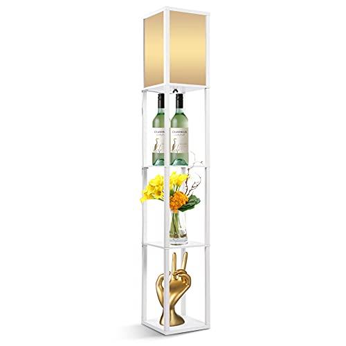 Lámpara de pie con estante de 3 capas, lámpara de pie moderna de roble de madera, perfecta para dormitorio, oficina, salón, 160 x 26 x 26 cm (blanco)
