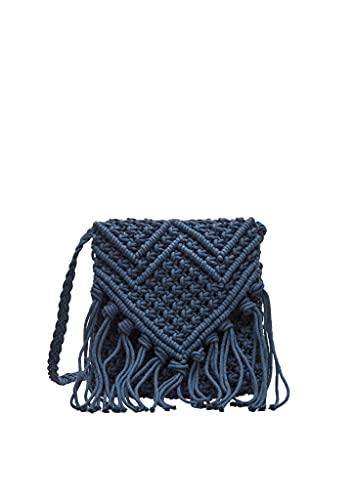 s.Oliver Damen Makramee-Tasche mit Fransen dark blue 1