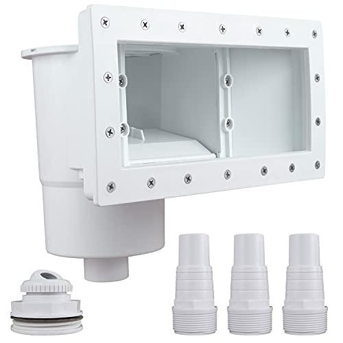 CIPU - Skimmer da piscina a parete passante kit completo per piscine fuori terra ampio con struttura ABS resistente a corrosione, colore: Bianco