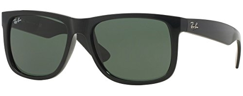 Ray-Ban Justin RB4165 Unisex Classic Sunglasses (54 mm, Shiny Black Frame) Ê