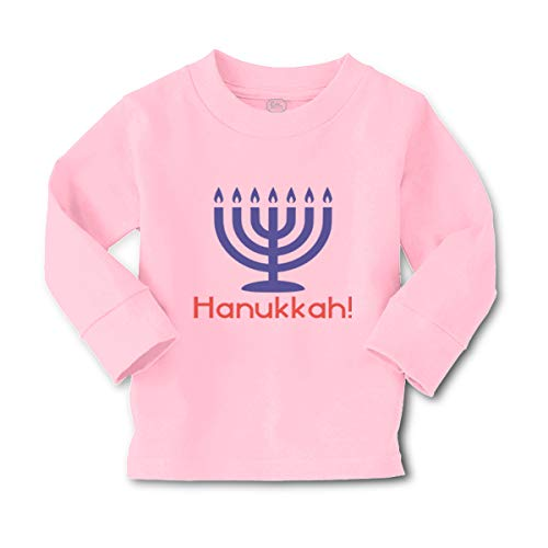 Cute Rascals Kids Long Sleeve T Shirt Hanukkah Religion Jewish Cotton Boy & Girl Clothes Funny Graphic Tee Soft Pink Design Only 4T