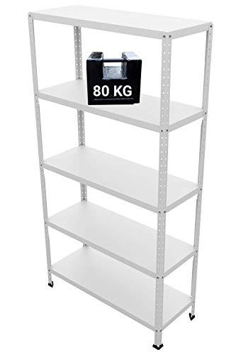 GRIMA Componibili Scaffale Metallo 5 ripiani - 100x40x187h (80KG each, total 400KG) Scaffali in metallico, scaffalature metalliche, acciaio per garage, cucina, libreria, ufficio (bianco)