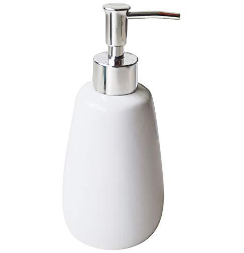 TOOZFO White Hand Soap Dispenser Ceramics Bottles with Elegant Pump Top Bathroom Empty Shampoo Bottles 10oz/300ml