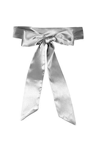 BlackButterfly Hochzeit Bogen Band BrautjungfernabschlussballSatin-Schärpe Gürtel (Silber, 5 CM X 175 CM)