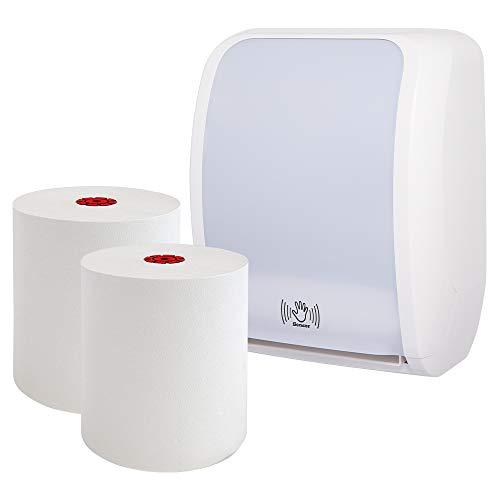 Blanc HYGIENIC - Handtuchrollenspender-Set Sensor: Blanc Cosmos mit 6 Handtuchrollen Premium TAD in weiß - berührungslose Nutzung- Produktset