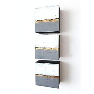 3x 10x10cm Malerei Acrylmalerei abstrakt auf Holz moderne Kunst, modernes Design, Malerei, moderne Acrylbilder…